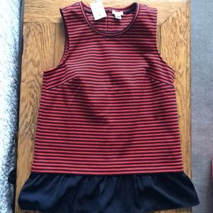 Jcrew red and navy ruffle hemmed tank size xs NWT